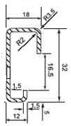 DIN (ДИН) рейка 32 мм х 18 мм, G-type rail 32 х 18 (EN 50035, BS 5825, DIN 46277-1)
