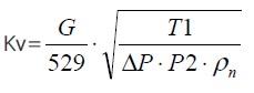 Газ, массовый расход / режим1. Расчет и выбор регулирующих клапанов (вентилей) по пропускной способности на воде, для жидкости, водяного пара паре или газа.